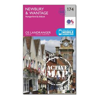 Landranger Active 174 Newbury & Wantage, Hungerford & Didcot Map With Digital Version