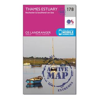 Landranger Active 178 Thames Estuary, Rochester & Southend-on-Sea Map With Digital Version