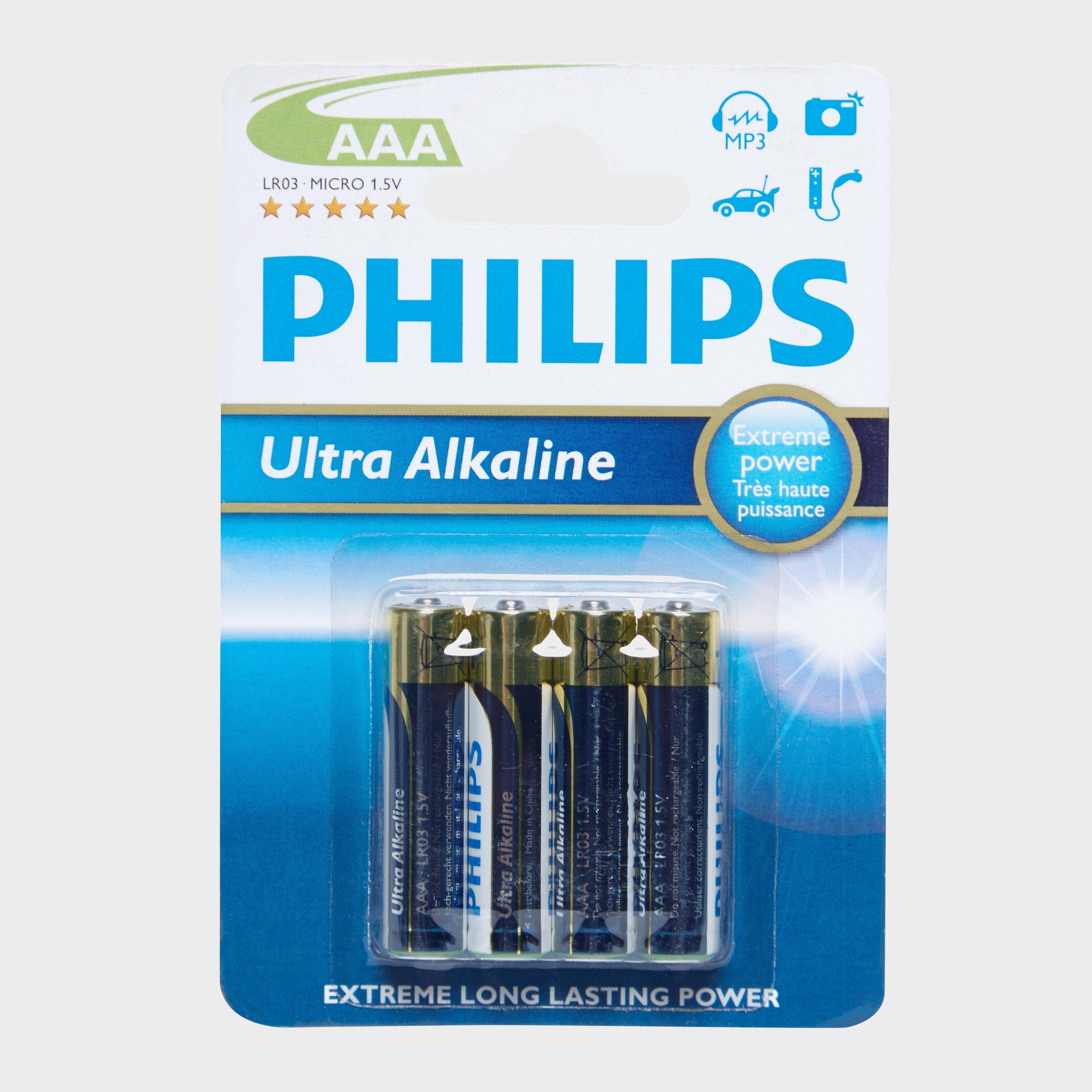 Phillips Ultra Alkaline AAA LR03 Batteries 4 Pack, Multi
