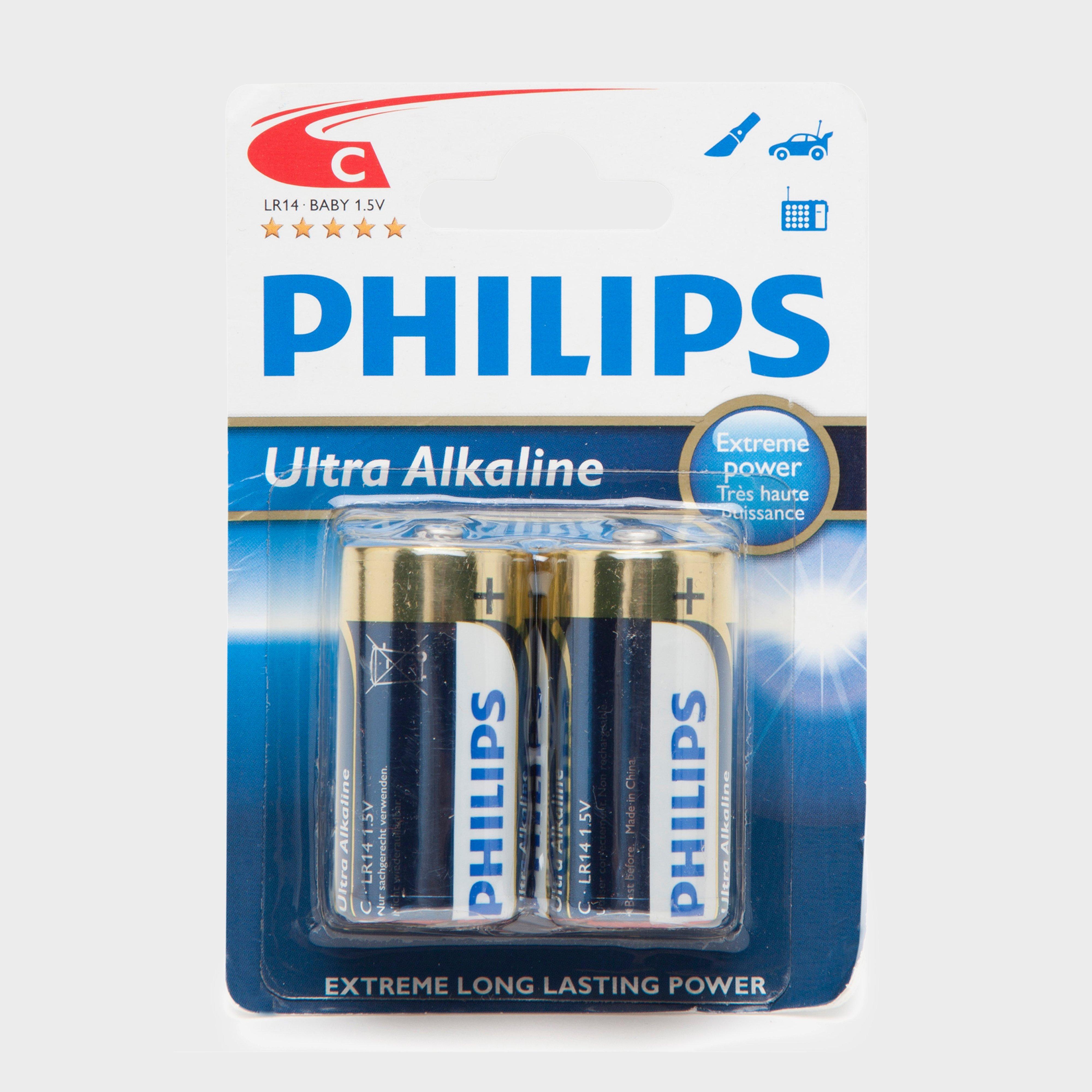 Phillips Ultra Alkaline C LR14 1.5V Batteries 2 Pack, Multi