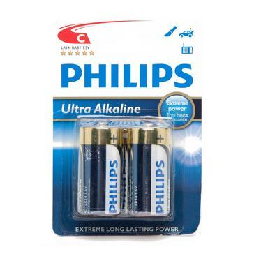 N/A Phillips Ultra Alkaline C LR14 1.5V Batteries 2 Pack