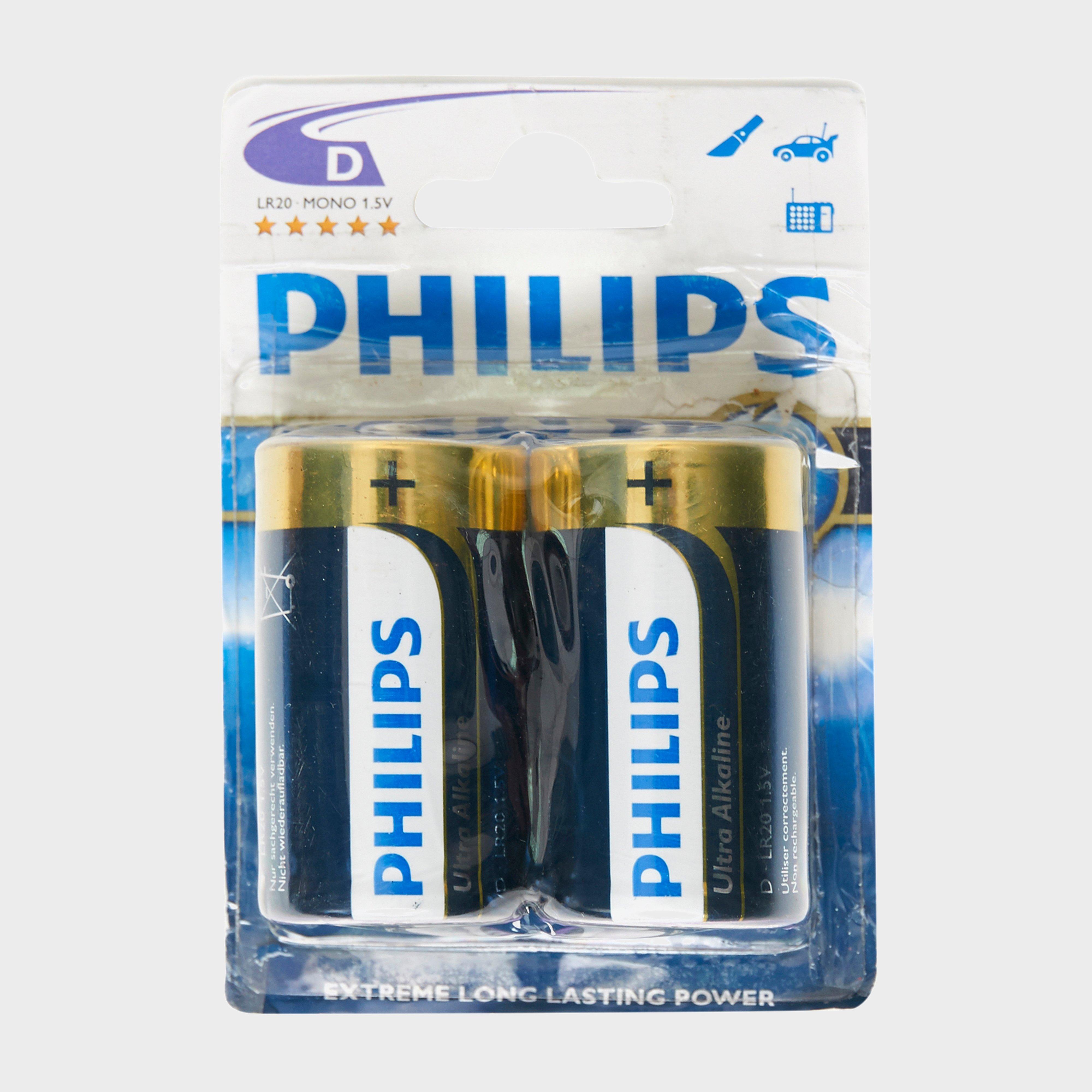 Phillips Ultra Alkaline D LR20 Batteries 2 Pack, Multi