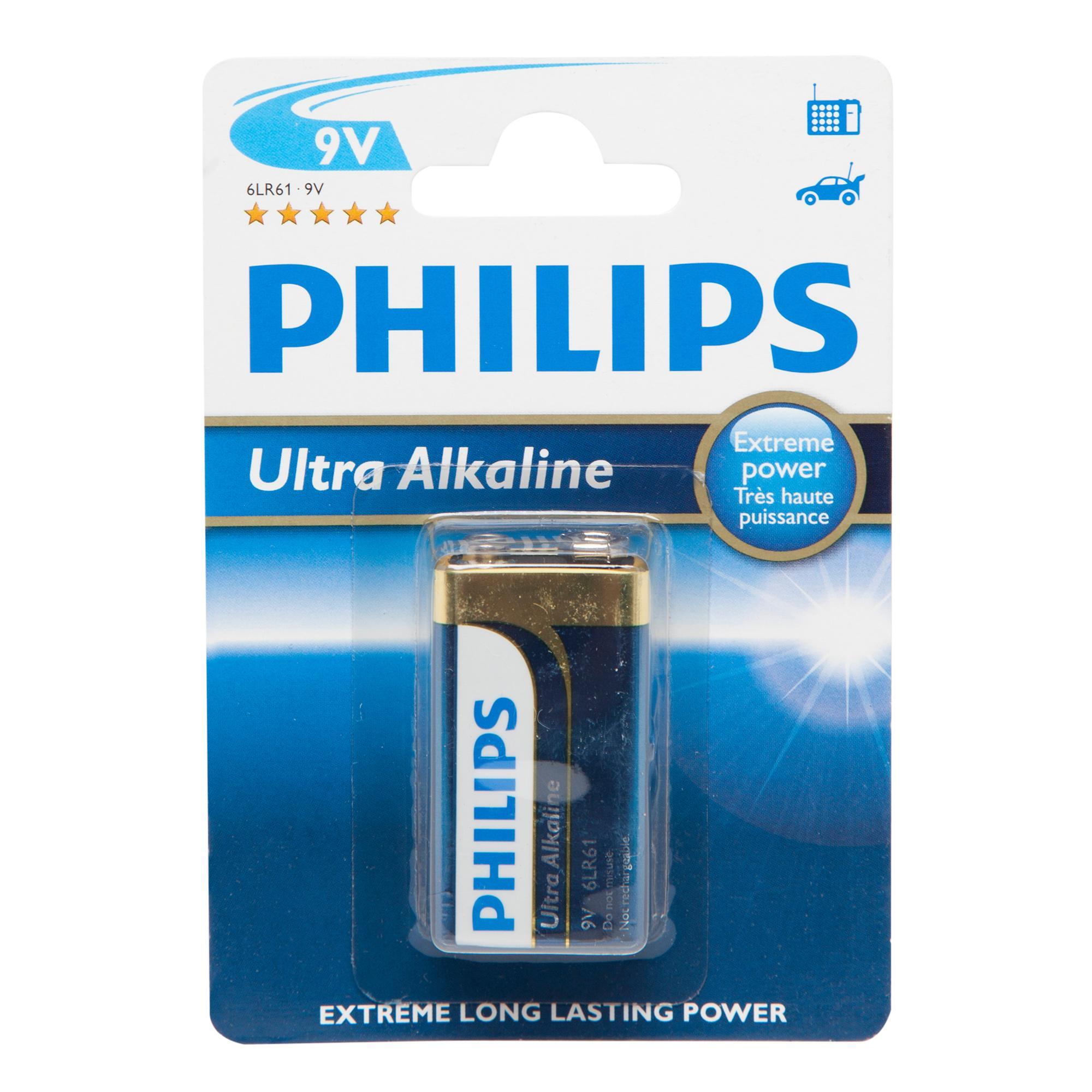 Phillips Phillips Ultra Alkaline 9V 6LR61 Battery - Black, Black
