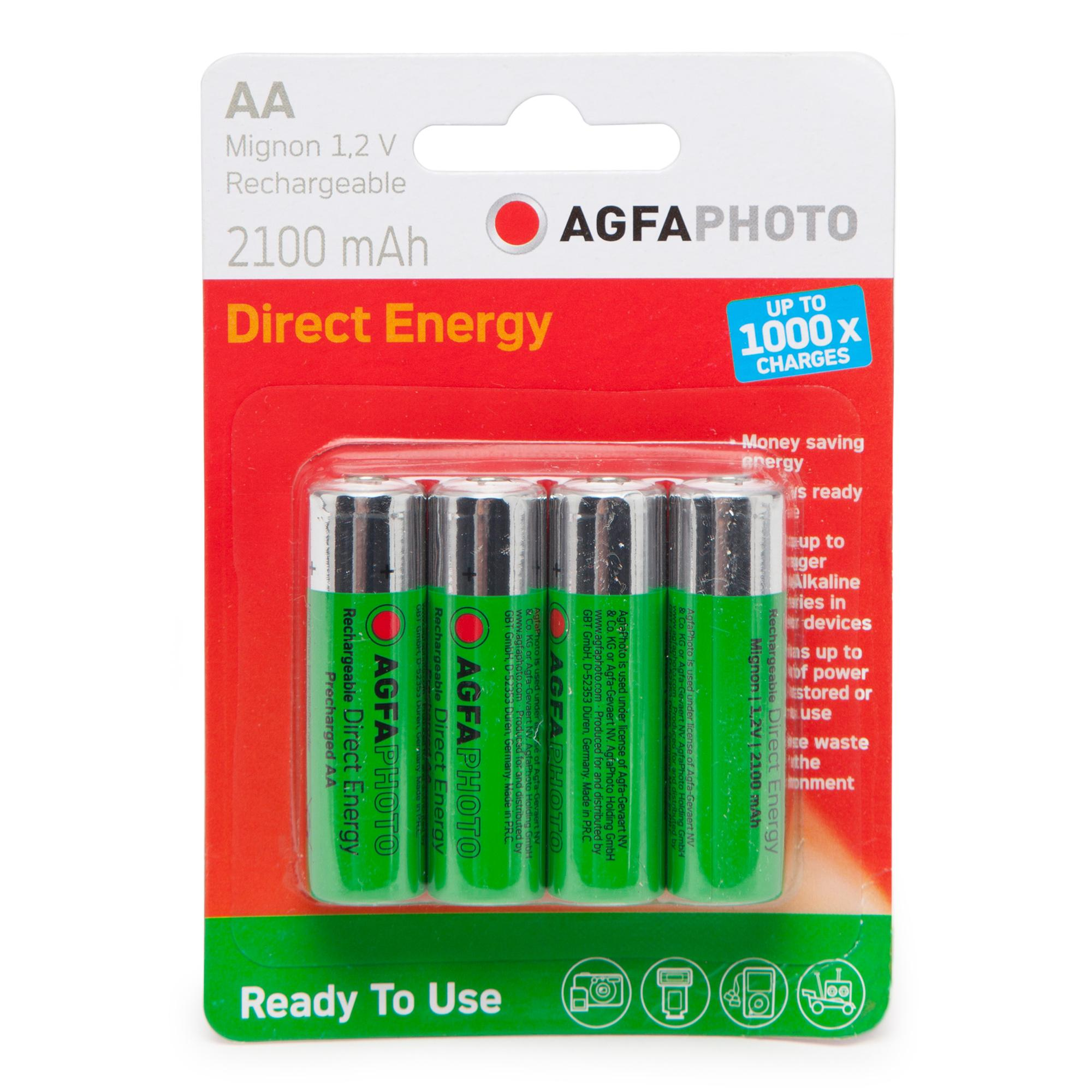AGFA Rechargeable AA 1.2V Batteries 4 Pack, Multi Coloured