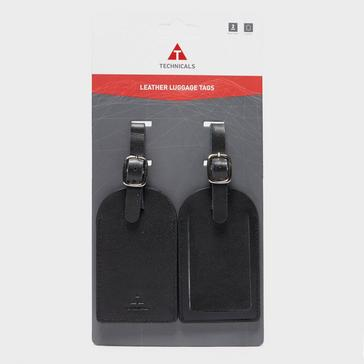 Black Technicals Set of 2 Leather Luggage Tags