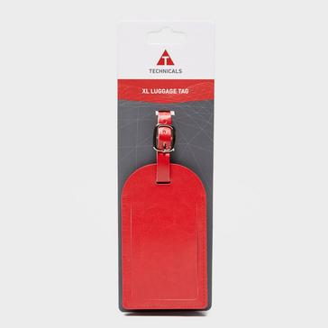 Red Technicals Extra Large Leather Luggage Tag