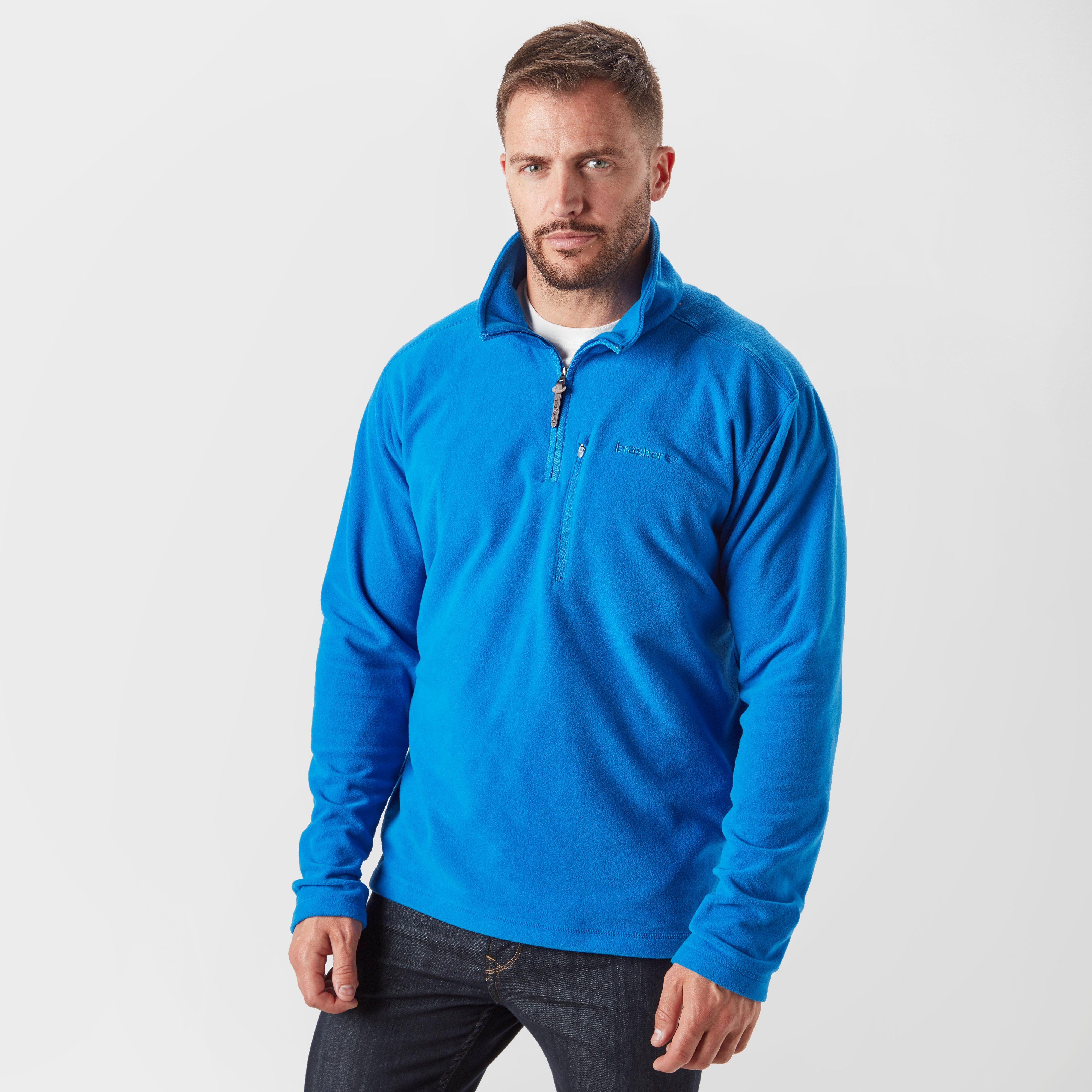 Brasher Brasher Mens Bleaberry Half-Zip Fleece - Blue, Blue