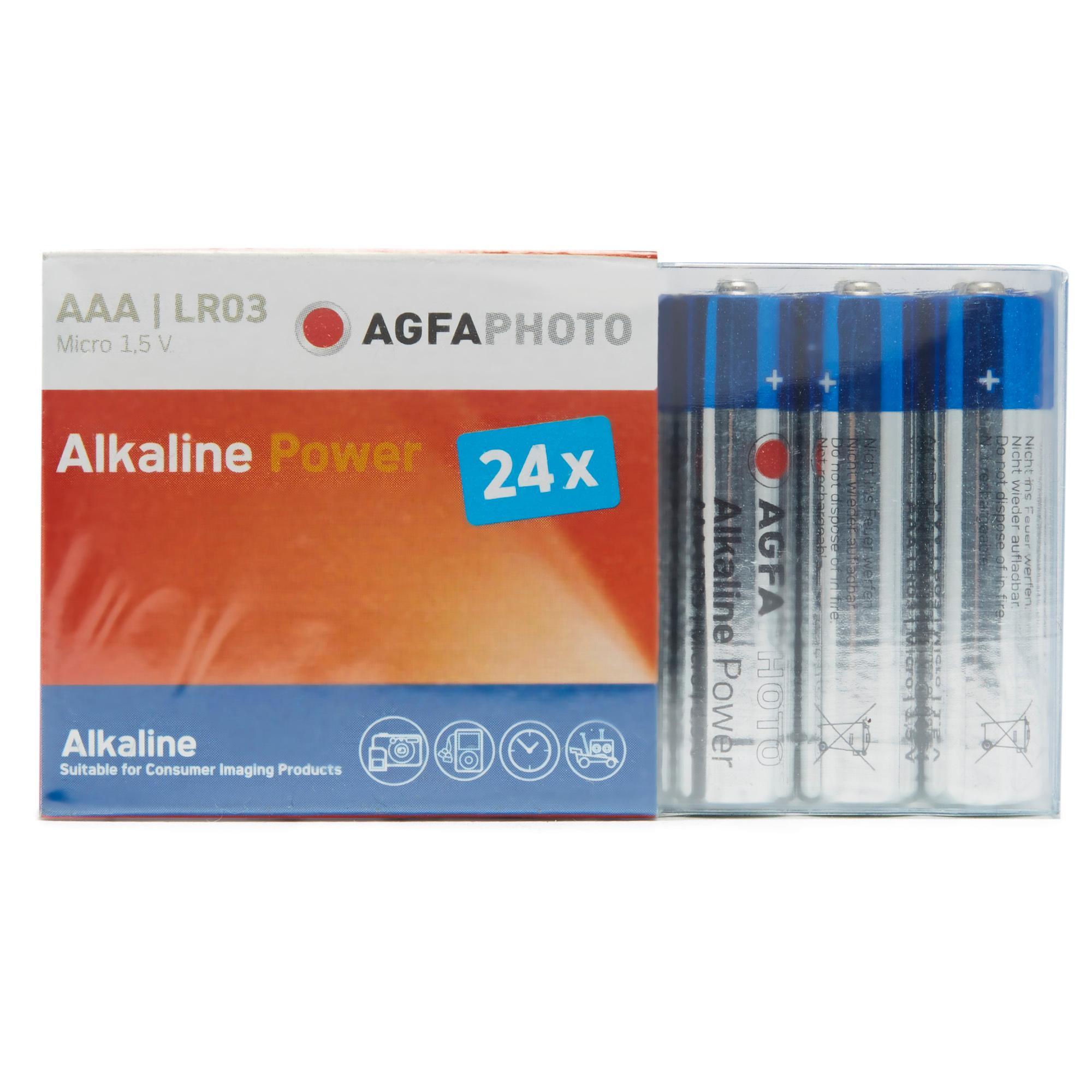 AGFA Alkaline Power AAA LR03 Batteries 24 Pack, SLIVER/BLUE