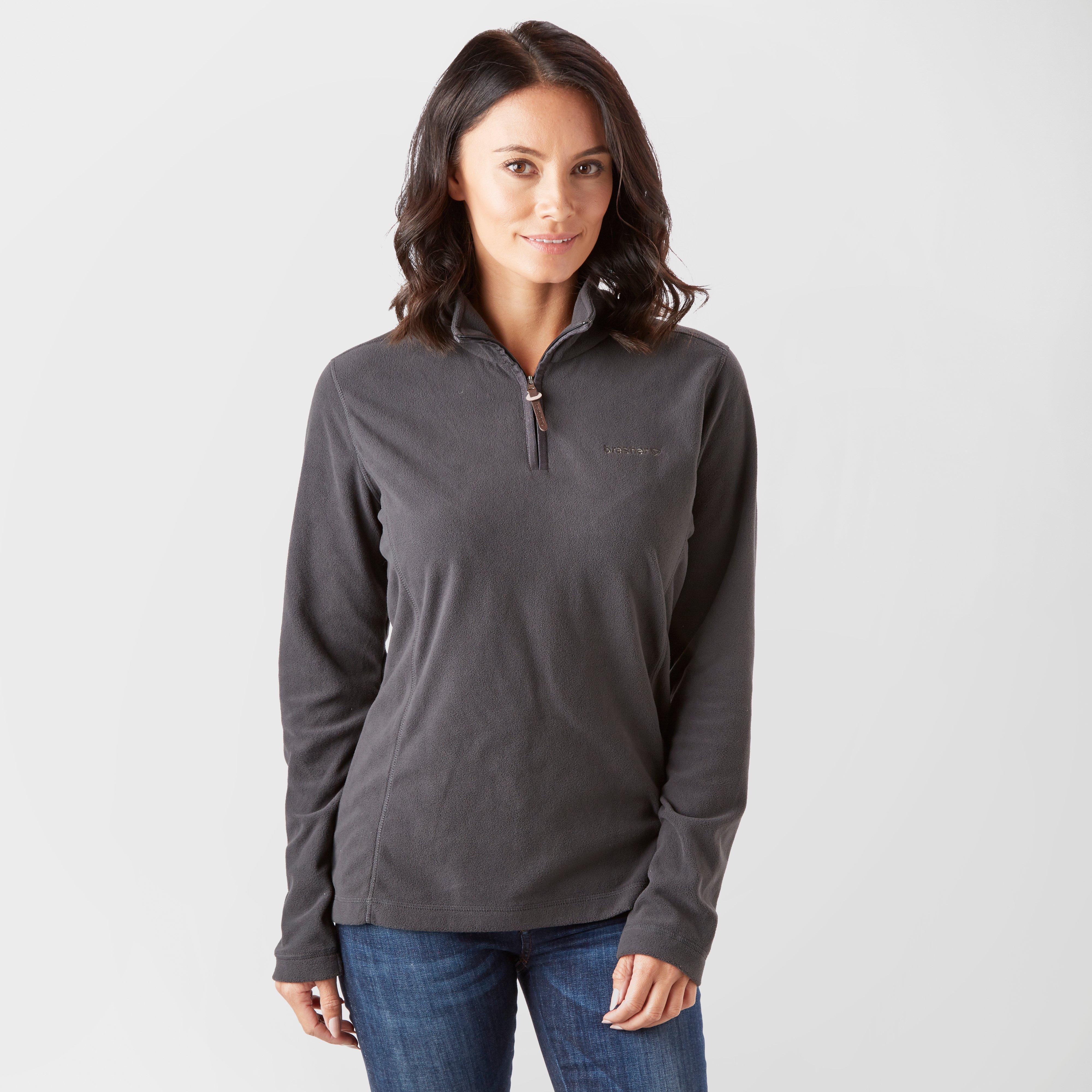 Image of Brasher Women's Bleaberry Half Zip Fleece - Grey/Dgy, Grey/DGY