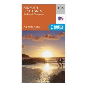 ORDNANCE SURVEY Explorer 104 Redruth & St Agnes Map With Digital Version