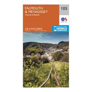 ORDNANCE SURVEY Explorer 105 Falmouth & Mevagissey Map With Digital Version