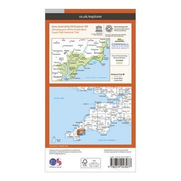 Orange Ordnance Survey Explorer 105 Falmouth & Mevagissey Map With Digital Version