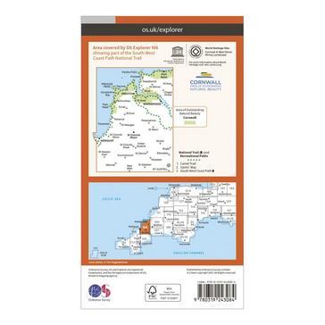 Orange Ordnance Survey Explorer 106 Newquay & Padstow Map With Digital Version