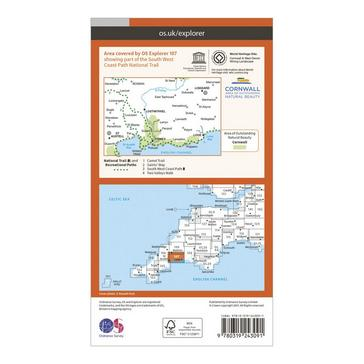 Orange Ordnance Survey Explorer 107 St Austell & Liskeard Map With Digital Version