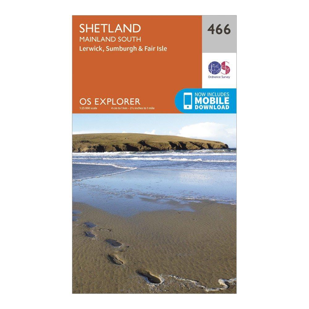 """Image of Ordnance Survey Explorer 466 Shetland €"""" Mainland South Map With Digital Version - Orange/D, Orange/D"""