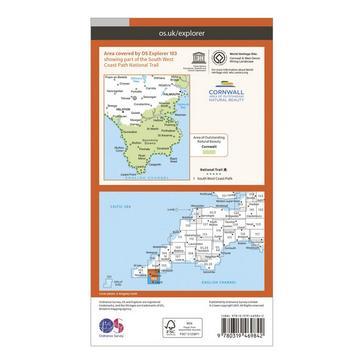 Orange Ordnance Survey Explorer Active 103 The Lizard Map With Digital Version