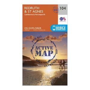 ORDNANCE SURVEY Explorer Active 104 Redruth & St Agnes Map With Digital Version