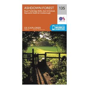 ORDNANCE SURVEY Explorer 135 Ashdown Forest Map With Digital Version