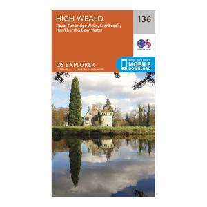 ORDNANCE SURVEY Explorer 136 High Weald Map With Digital Version