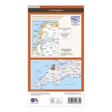Orange Ordnance Survey Explorer 139 Bideford, Ilfracombe & Barnstaple Map With Digital Version