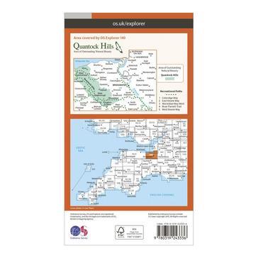 Orange Ordnance Survey Explorer 140 Quantock Hills & Bridgwater Map With Digital Version