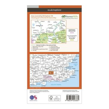 Orange Ordnance Survey Explorer 145 Guildford & Farnham Map With Digital Version