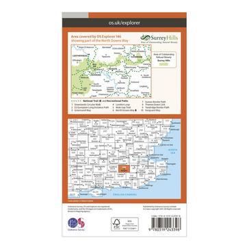 Orange Ordnance Survey Explorer 146 Dorking, Box Hill & Reigate Map With Digital Version