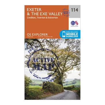 Orange Ordnance Survey Explorer Active 114 Exeter & The Exe Valley Map With Digital Version