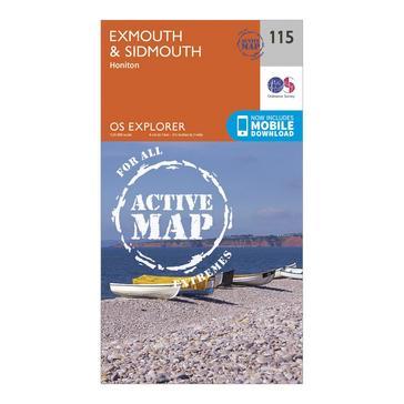 Orange Ordnance Survey Explorer Active 115 Exmouth & Sidmouth Map With Digital Version