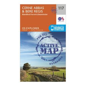 ORDNANCE SURVEY Explorer Active 117 Cerne Abbas & Bere Regis Map With Digital Version