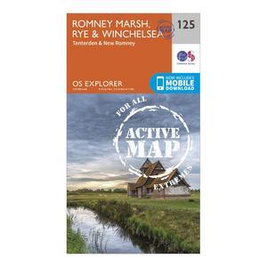 ORDNANCE SURVEY Explorer Active 125 Romneys Marsh, Rye & Winchelsea Map With Digital Version