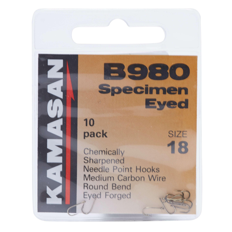 KAMASAN B980 Barbed Specimen Eyed Hooks - Size 18