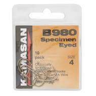B980 Barbed Specimen Eyed Hooks - Size 4