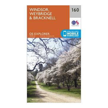 Orange Ordnance Survey Explorer 160 Windsor, Weybridge & Bracknell Map With Digital Version