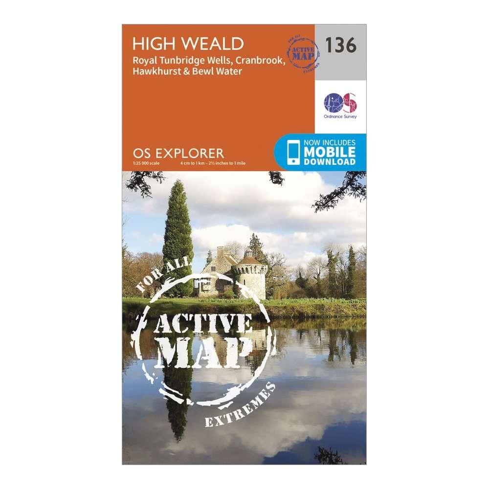 ORDNANCE SURVEY Explorer Active 136 High Weald & Royal Tunbridge Wells Map With Digital Version
