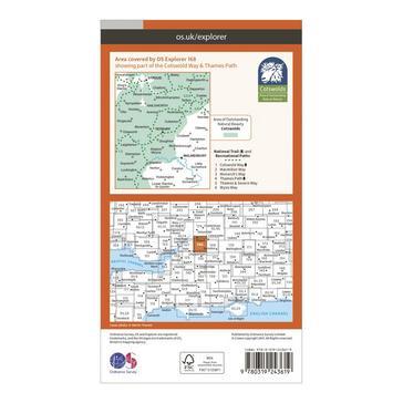 Orange Ordnance Survey Explorer 168 Stroud, Tetbury & Malmesbury Map With Digital Version