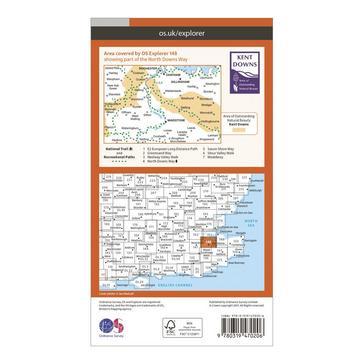 Orange Ordnance Survey Explorer Active 148 Maidstone & The Medway Towns Map With Digital Version