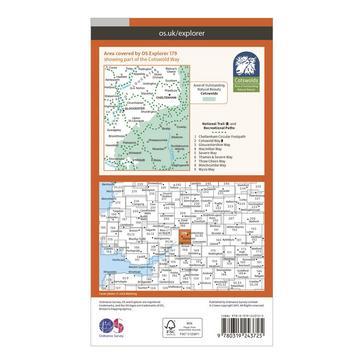 Orange Ordnance Survey Explorer 179 Gloucester, Cheltenham & Stroud Map With Digital Version