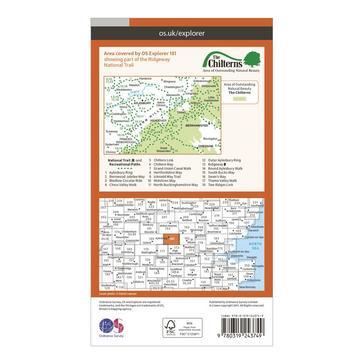 Orange Ordnance Survey Explorer 181 Chiltern Hills North Map With Digital Version