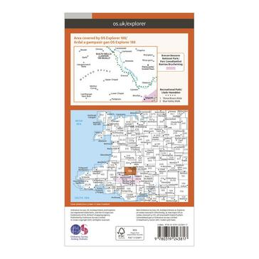 Orange Ordnance Survey Explorer 188 Builth Wells, Paincastle & Talgarth Map With Digital Version