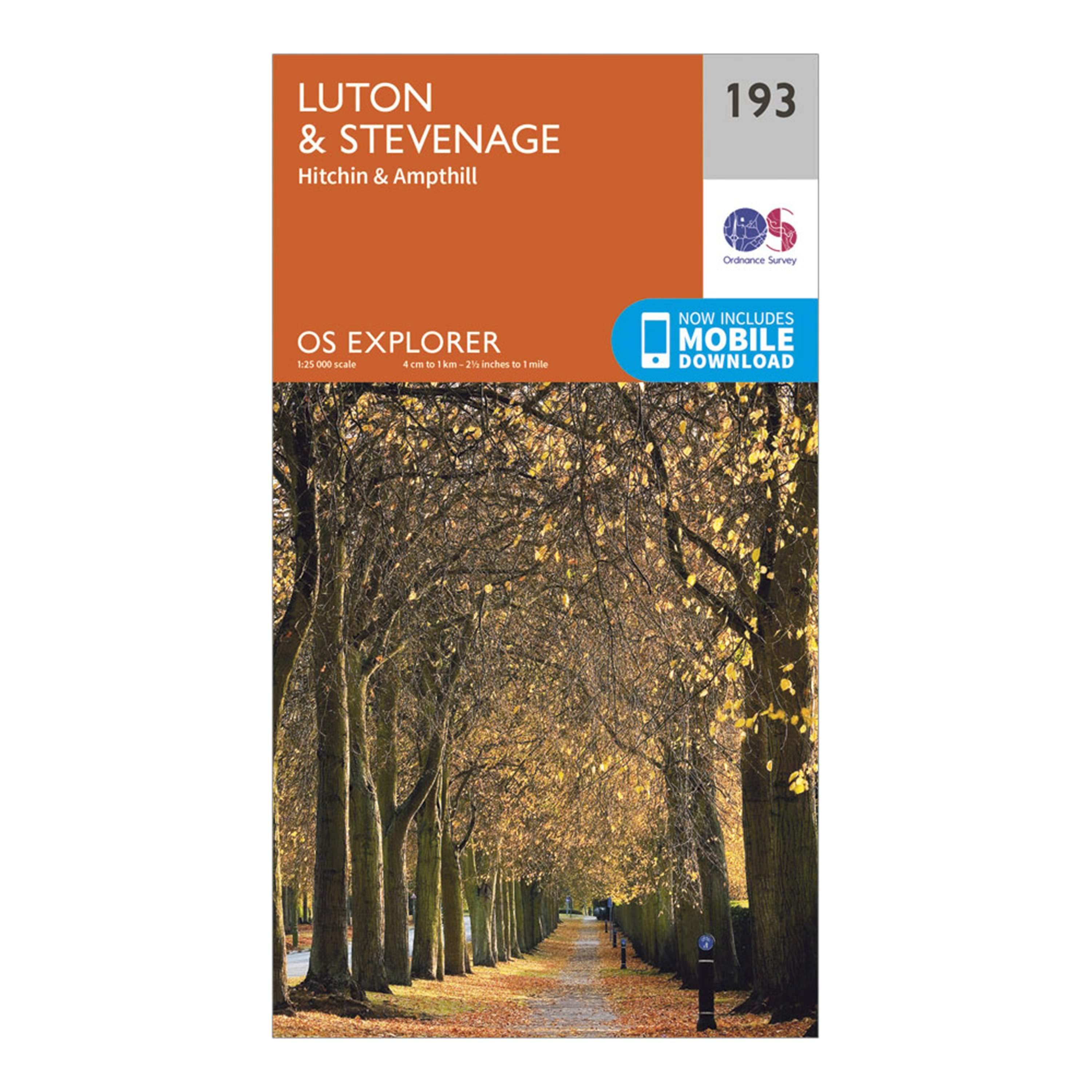 ORDNANCE SURVEY Explorer 193 Luton & Stevenage, Hitchin & Ampthill Map With Digital Version