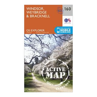 Explorer Active 160 Windsor, Weybridge & Bracknell Map With Digital Version
