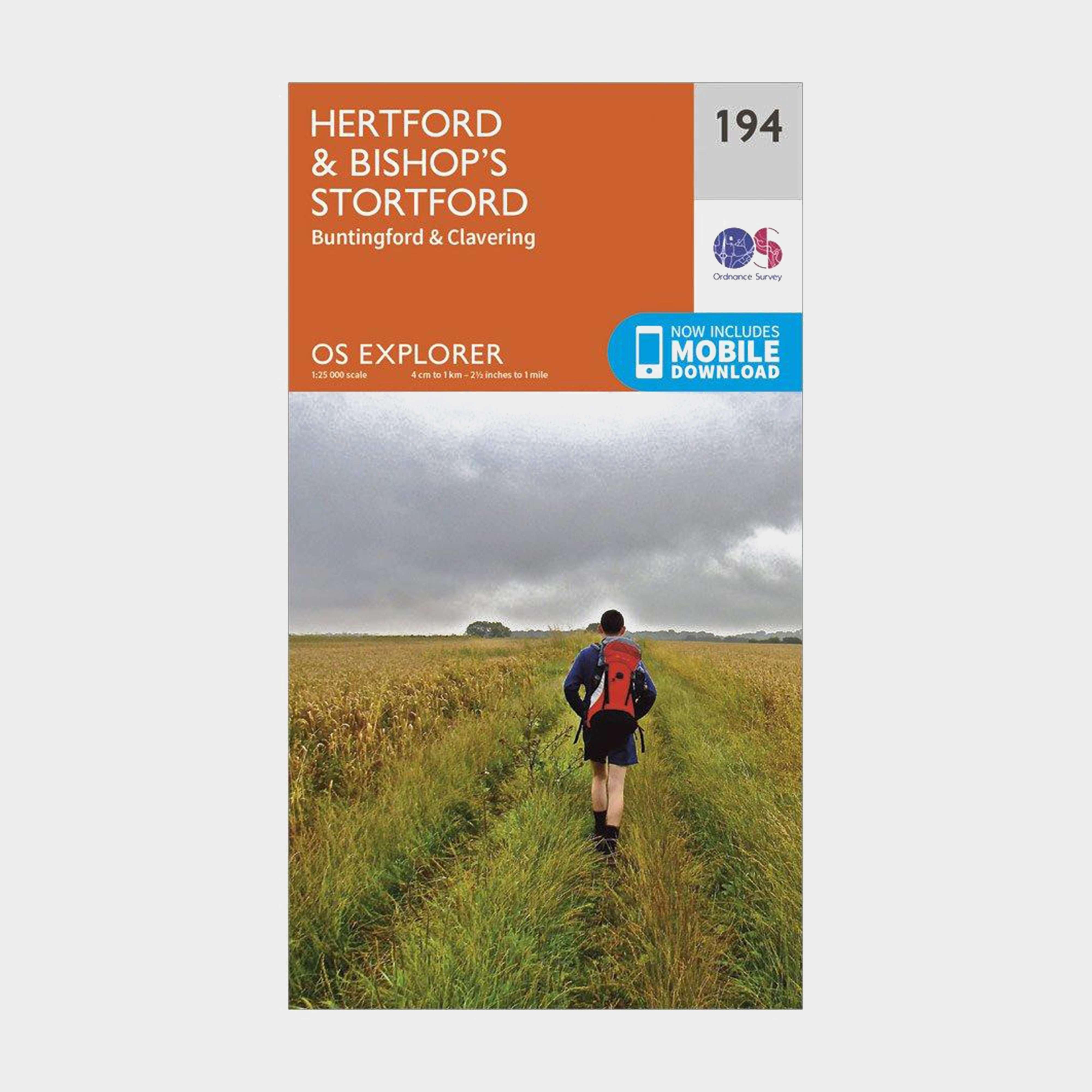ORDNANCE SURVEY Explorer 194 Hertford & Bishop's Stortford Map With Digital Version
