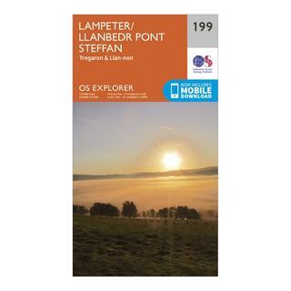 Explorer 199 Lampeter, Tregaron & Llan-non Map With Digital Version