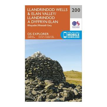 Orange Ordnance Survey Explorer 200 Llandrindod Wells & Elan Valley & Rhayader Map With Digital Version