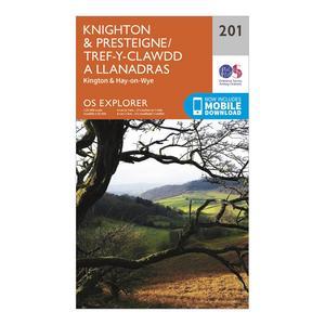 ORDNANCE SURVEY Explorer 201 Knighton & Presteigne Map With Digital Version