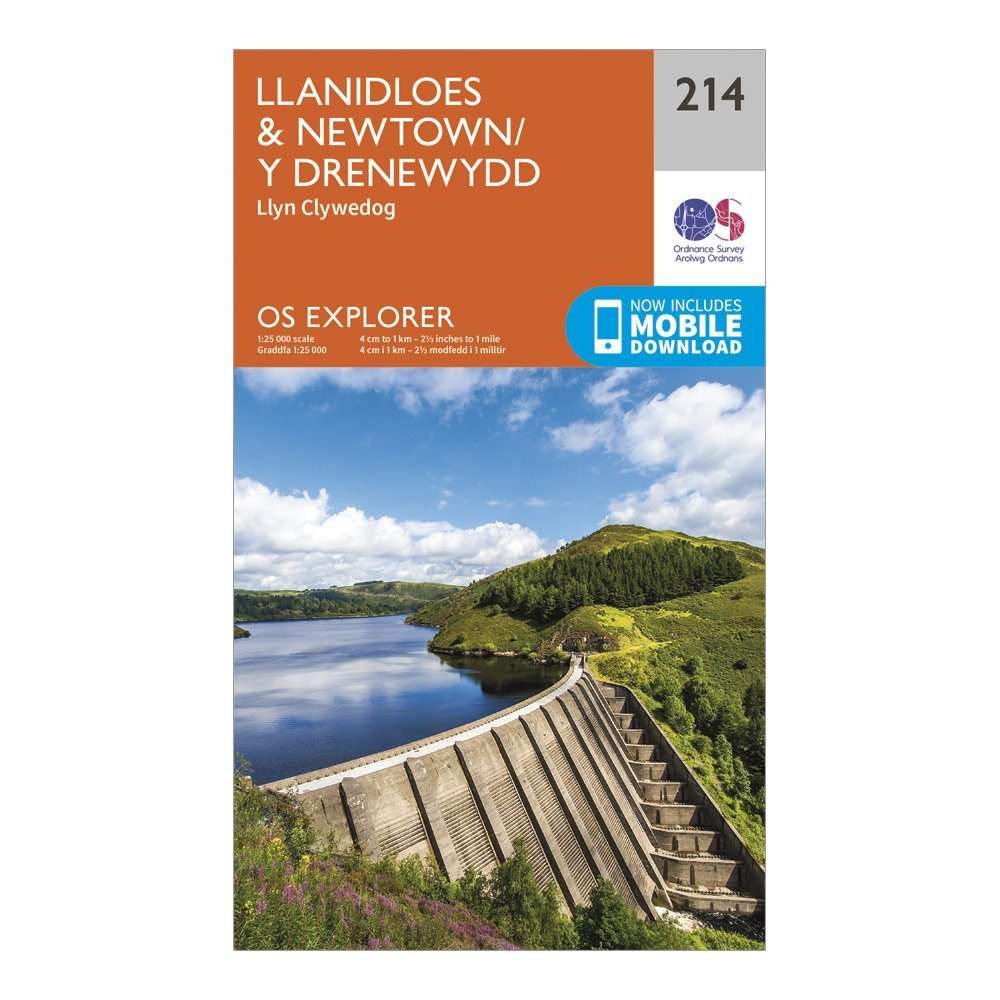 ORDNANCE SURVEY Explorer 214 Llanidloes & Newtown Map With Digital Version