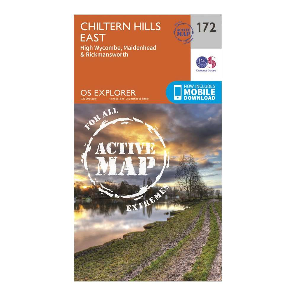 ORDNANCE SURVEY Explorer Active 172 Chiltern Hills East Map With Digital Version
