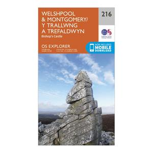 ORDNANCE SURVEY Explorer 216 Welshpool & Montegomery Map With Digital Version