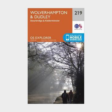 Orange Ordnance Survey Explorer 219 Wolverhampton, Dudley, Stourbridge & Kidderminster Map With Digital Version